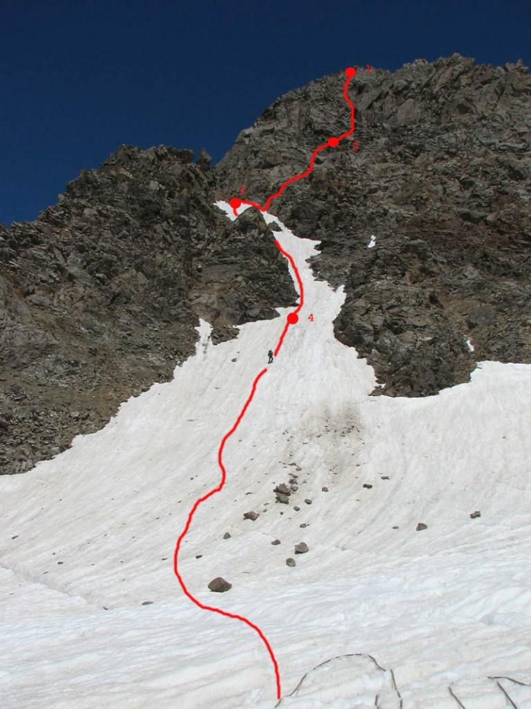 Путь спуска с гребня на лед. Бжедух. Отмечены места крепления перил