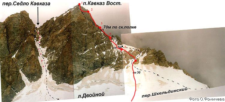 Путь спуска с  пика Кавказа Вост. на лед. Двойной. Показаны места крепления перильных веревок