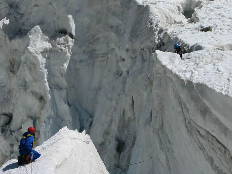 Ключевой участок ледопада перед выходом на Ушбинское плато