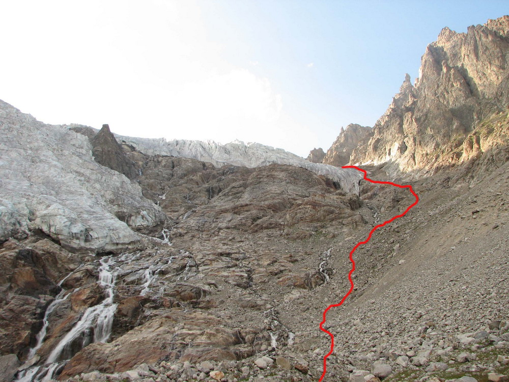 Путь спуска с ледника Юж. Чат