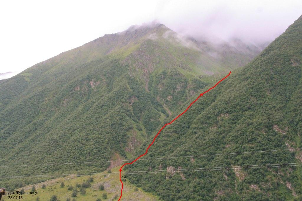 Путь подъема в д.р. Журашнису
