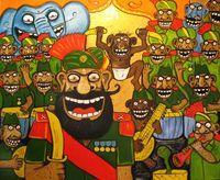Картина Васи Ложкина. Ансамбль песни и пляски индийской армии.